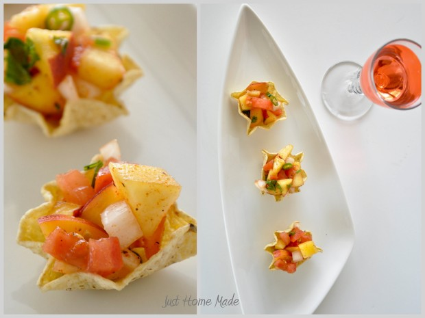 Nectarine Sala on whole grain tostitos scoops