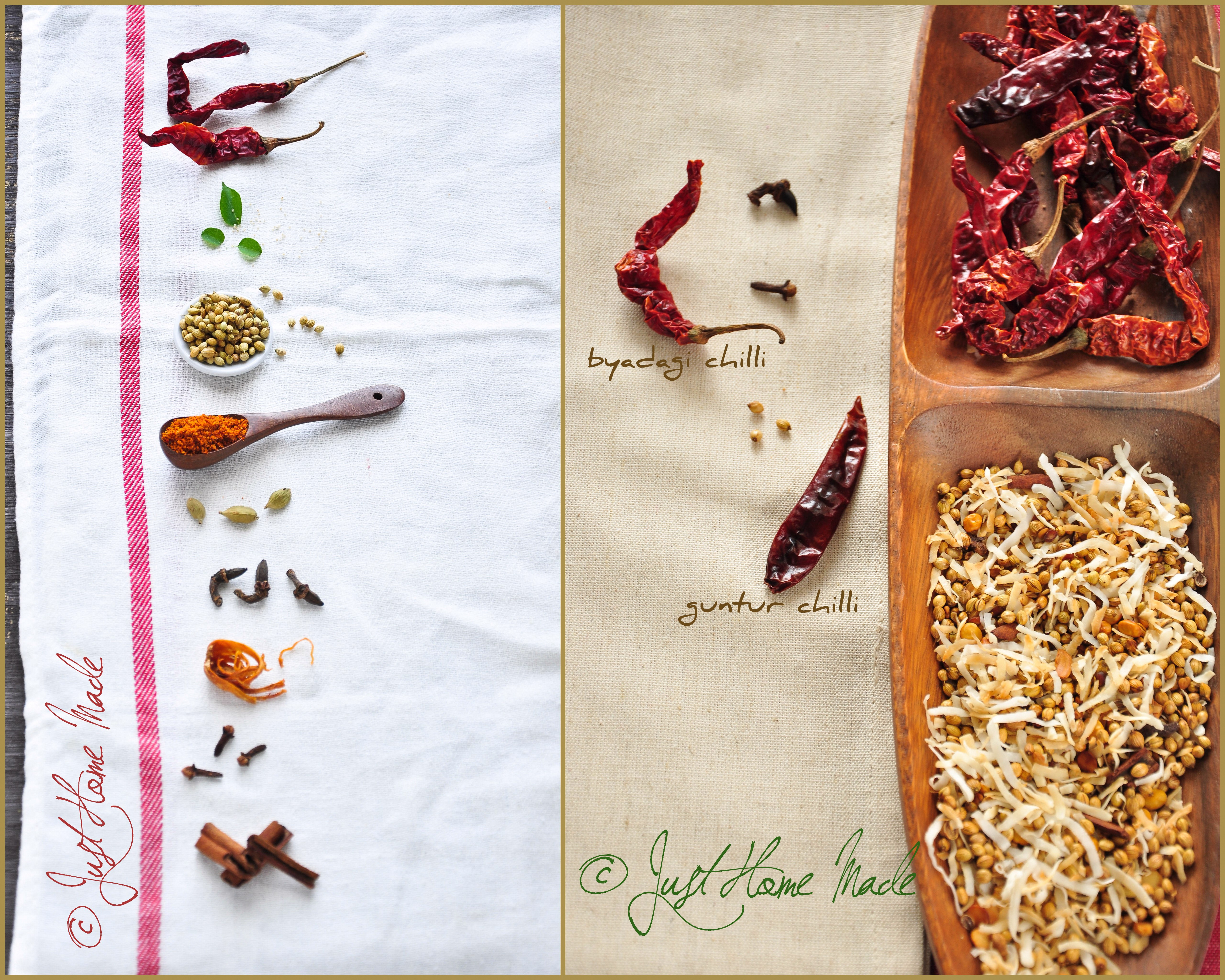 Bisi Bele Baath mix ingredients diptych