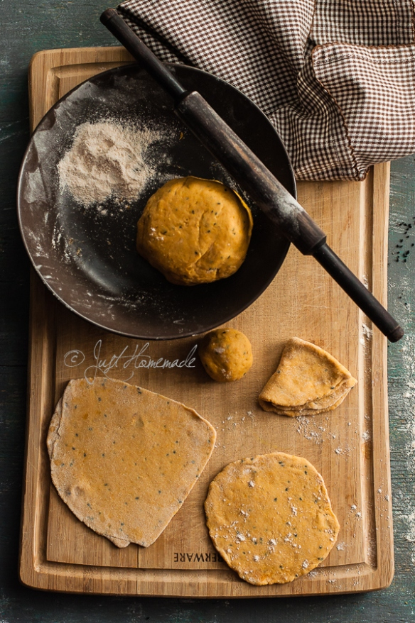 Butternut squash paratha making