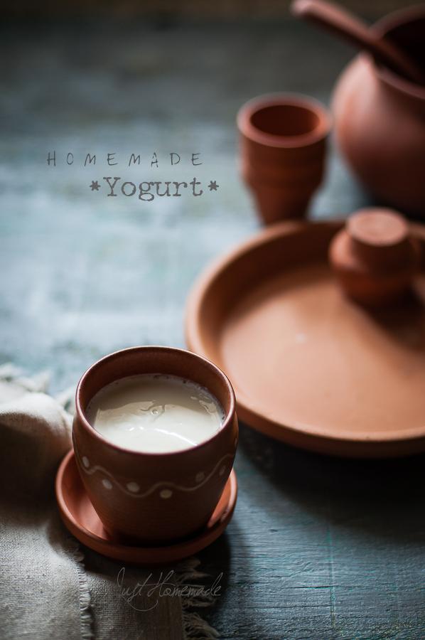 homemade yogurt in clay pot