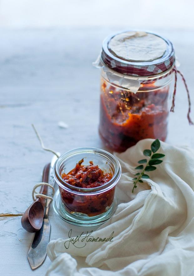 Andhra Tomato pickle backlit