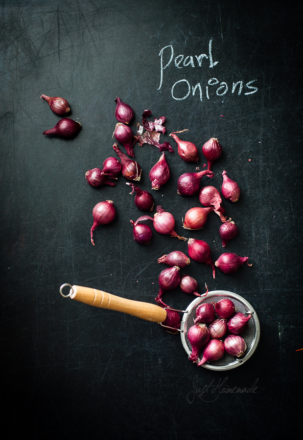 Pearl onions scattered