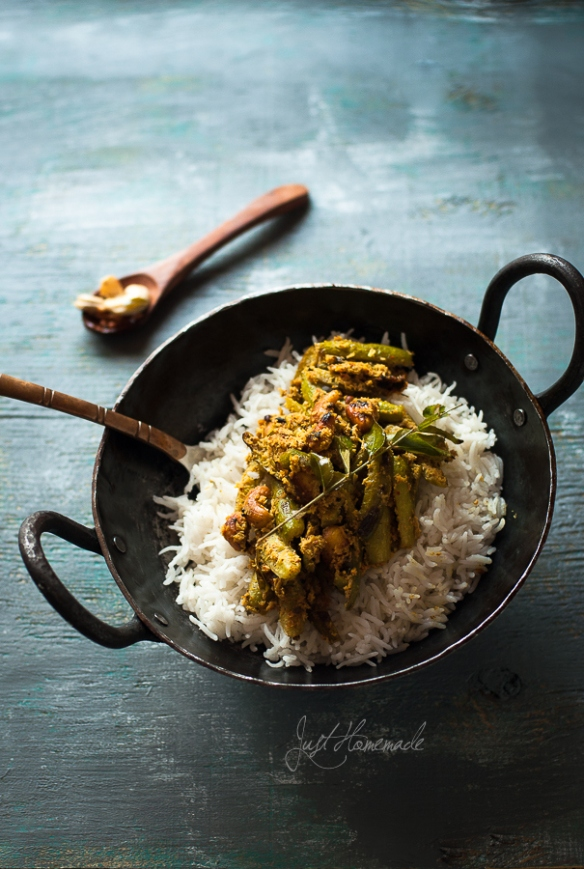 Tindora Mustard Rice kadai