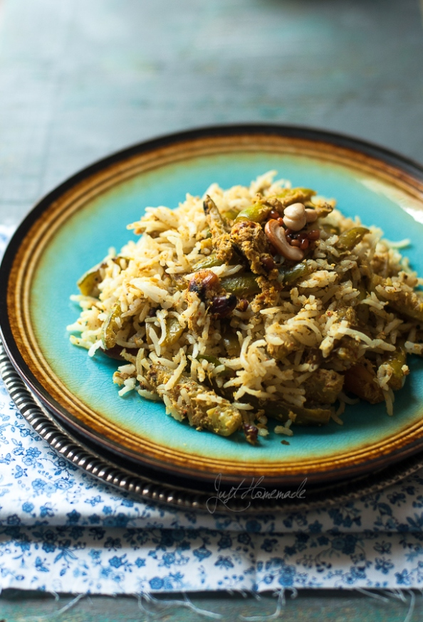 tindora mustard rice on plate